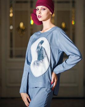 Блуза с авторским принтом Камея
